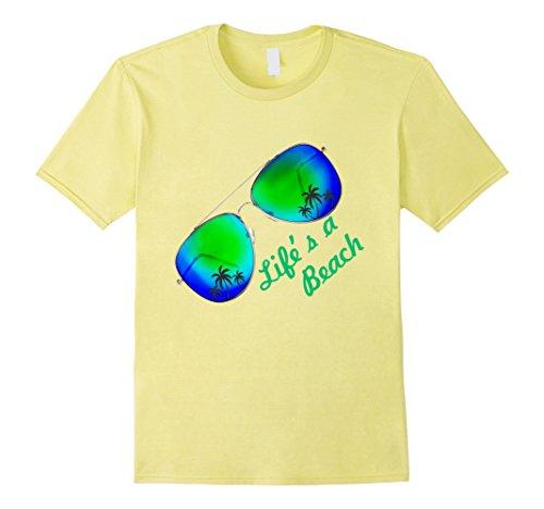 Mens LIFE IS A BEACH T-SHIRT Life's a beach tee Summer Sunshine Small Lemon (T-shirt Yellow Sunshine)