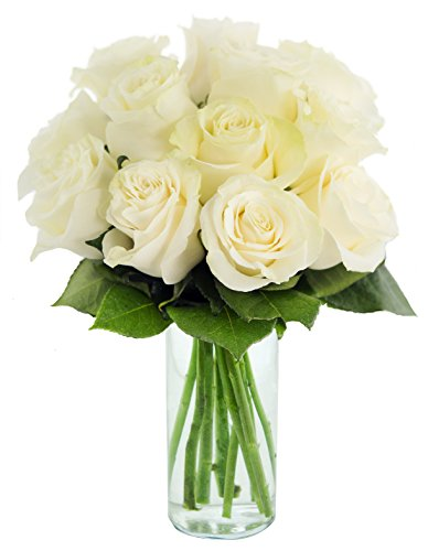 KaBloom Bouquet of 12 Fresh Cut White Roses