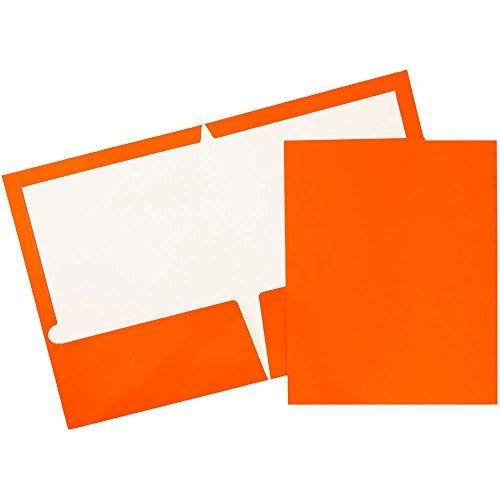 JAM Paper Glossy Two Pocket Presentation Folder - Orange - 100/pack by JAM Paper