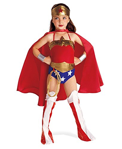 Rubies DC Super Heroes Collection Deluxe Wonder Woman Costume, Small (4-6) - Superhero 4 Piece Costumes