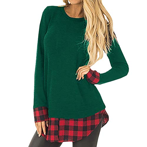 UOKNICE Womens Blouses, Long Sleeves Casual Winter Warm Loose Plaid Grid Round Neck Patchwork Pullover Sweatshirts Tops lace roja Night Party Nine west Organizer Closet Office Open Sweatshirt o-Neck -