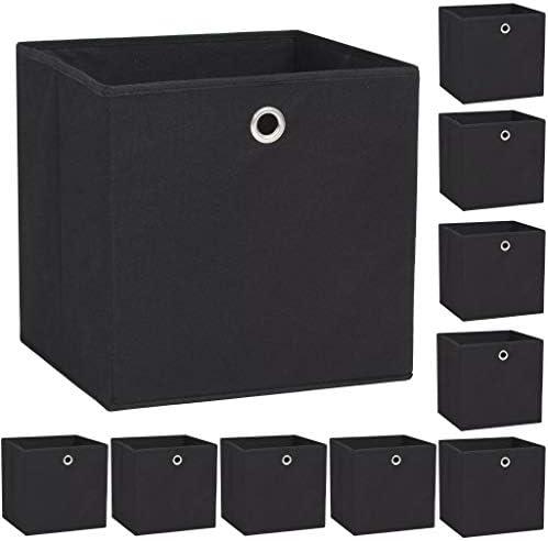 vidaXL 10x Cajas Almacenaje 32x32x32 cm Negro Textil Hogar Organización Cestas: Amazon.es: Bebé
