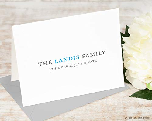 (SIMPLE FAMILY FOLDED - Personalized Stationery/Stationary Notecard Set)