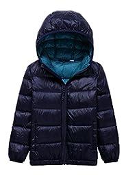 Lanbaosi Kid's Puffer Jacket Boy's Girl's Packable Hoodie Down Parka Jacket Coat