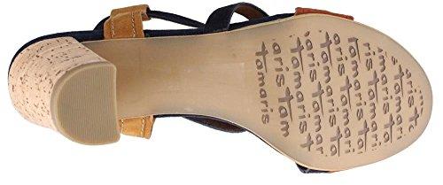 Tamaris 28350, Women's Ankle Strap Sandals Blue - Blau (Navy Suede Com 869)