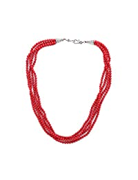 Lureme Handmade Multilayer Strand Red Stone Simulated Pearl Beads Twisted Cluster Necklace for Women (nl006037)