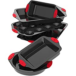 Vremi 6 Piece Nonstick Bakeware Set - Baking Sheet with Cake Loaf and Muffin Pans and Square Baking Pan - also has Large Roasting Pan - Non Stick Carbon Steel Metal Bakeware with Red Silicone Handles