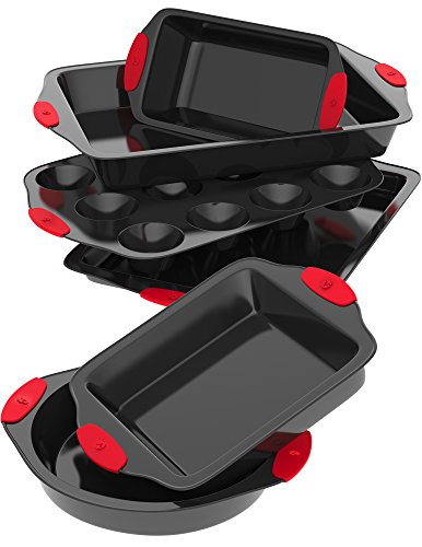 Vremi 6 Piece Nonstick Bakeware Set – Baking Sheet with Cake Loaf and Muffin Pans and Square Baking Pan – also has Large Roasting Pan – Non Stick Carbon Steel Metal Bakeware with Red Silicone Handles