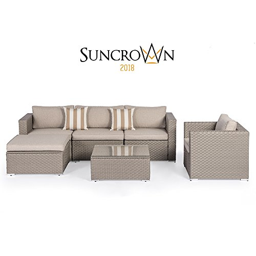 Cheap  Suncrown Outdoor Modular Sectional Furniture Set (6-Piece) All-weather Grey Wicker with Light..