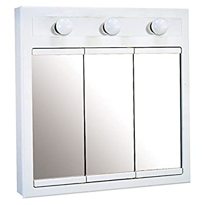 Design House Concord 3 Light Medicine Cabinet Mirror with 3-Doors and 2-Shelves - Dimensions: 24W x 5D x 30H in. Crafted out of select hardwoods White gloss finish - shelves-cabinets, bathroom-fixtures-hardware, bathroom - 41M819KNYXL. SS400  -