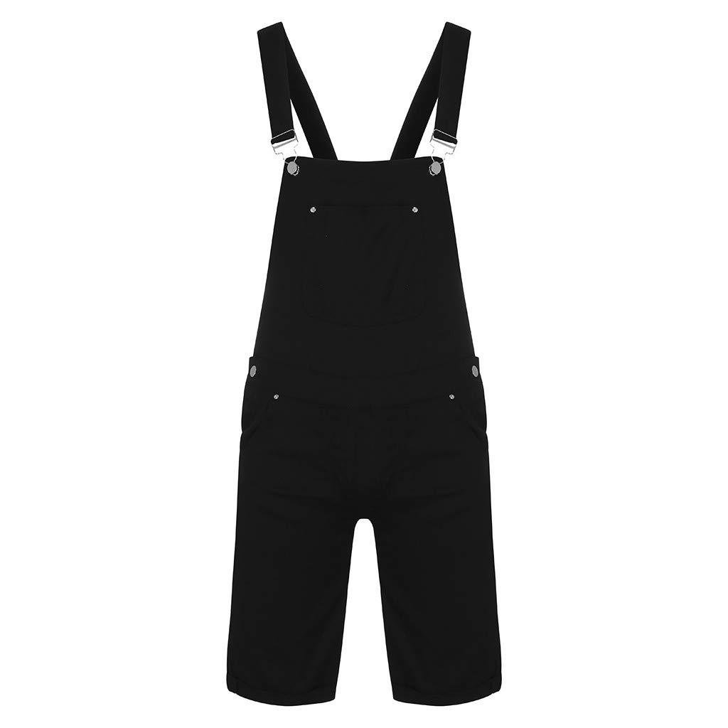 Feifish Mens Denim Multi-Pocket Washed Strap Jumpsuit Overall Suspenders Pants Light Dungarees