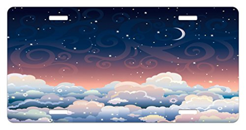 Lunarable Night Sky License Plate, Sky with Crescent Moon Swirled Lines and Cloud Abstract Cumulus Fantasy Design, High Gloss Aluminum Novelty Plate, 5.88 L X 11.88 W Inches, (Crescent Side Plate)