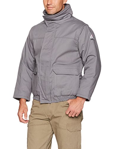 (Bulwark Men's Insulated Bomber Jacket-Excel Fr ComforTouch, Grey, X-Large)