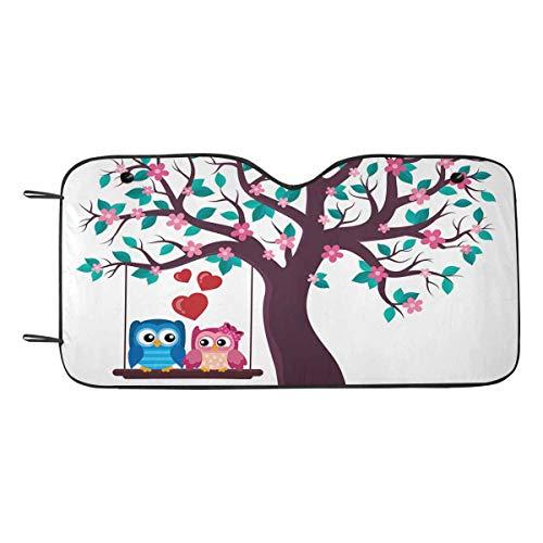 INTERESTPRINT Tree with Valentine Owls Car Shades for Front Windows Shield Visors Sun Blocker for SUV Truck]()