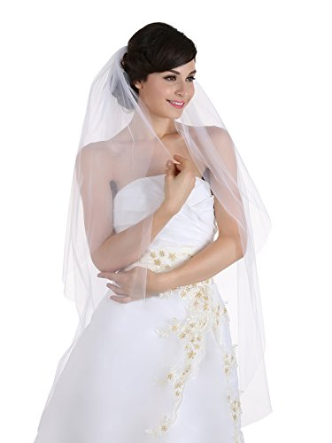 2T 2 Tier Cut Edge Bridal Wedding Veil - Ivory Waltz Length (Waltz Costume)