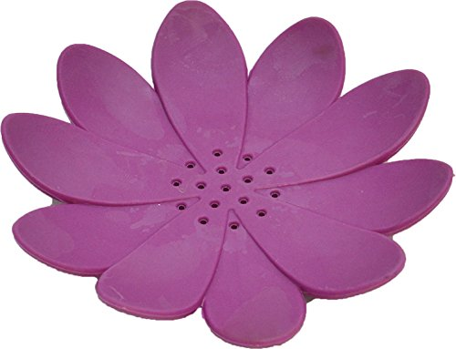 Lily Dish - EVIDECO Bathroom Soap Dish Cup WATER LILY Solid Colors (Purple)
