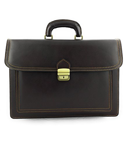 Leather Luggage Measures 15 x 5 x Leather Brown Brown 7 Briefcase Zerimar Colour Men Hand 11 8 11 inchs dxYHnI