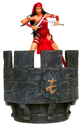 Marvel Select 2002 Special Collector Edition 6 Inch Action Figure With Highly Detailed Base Display Stand - ELEKTRA with Triple Stick, Sai, Naginata, Extra Pair of Hands and Legs