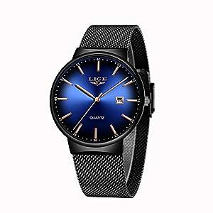 LIGE Montres Homme Ultra Mince Bleu Simple Acier Inoxydable Quartz Analogique Etanche Chronographe Montre Femme…