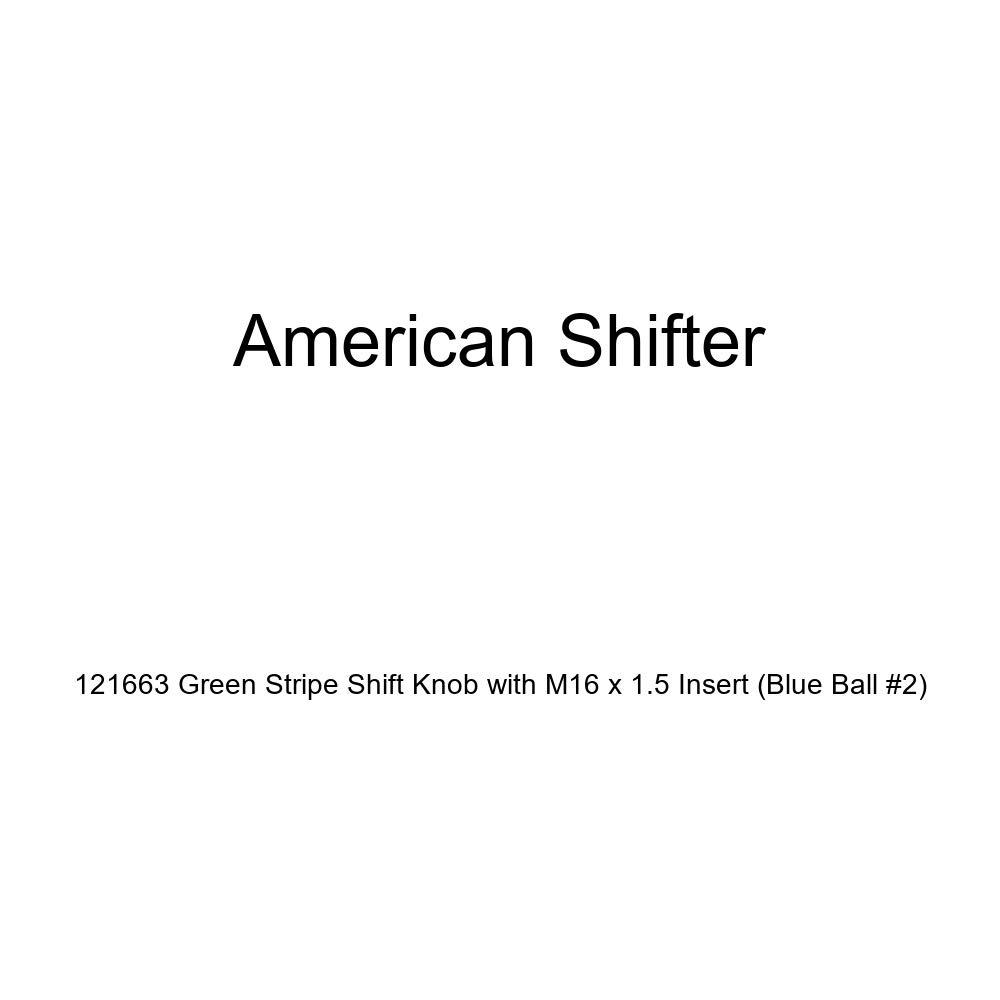 Blue Ball #2 American Shifter 121663 Green Stripe Shift Knob with M16 x 1.5 Insert