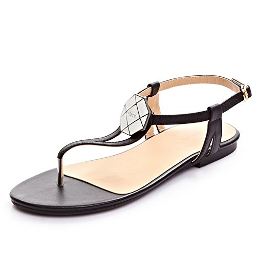 VogueZone009 Women's No Heel Frosted Solid Pull On Split Toe Sandals Black d4wquZZTb