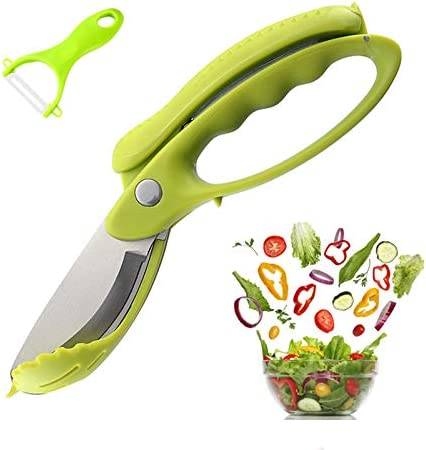 Salad Scissors Chopper, Vegetable Cutter for Butter Lettuce,Vegetable Slicer,Stainless Steel,Chop Salad Tongs with Adhesive Hanging Hook