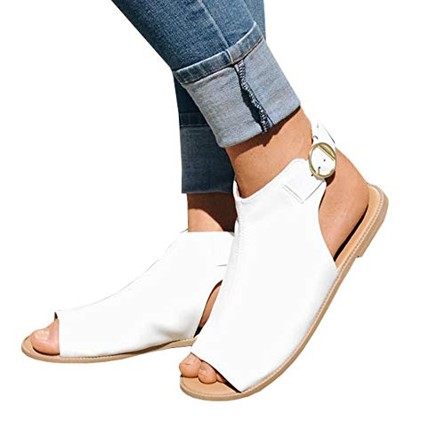Womens Open Toe Ankle Strap Cutout Double Buckle Zipper Back Stacked Heel Sandals (❤ 38 EU-10.05in(Foot Length)-7 US, G-white)