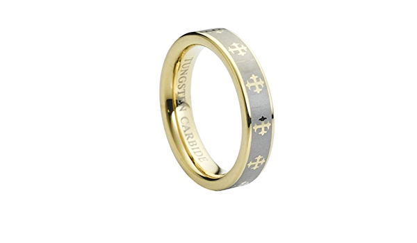 Tungsten 5mm Gold Plated /& Laser Engraved Crosses Wedding Band