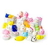 Mochi Squishy Toys - Variety of 30 Squishy Package - Mochi Squishy Cat, Panda Squishy, Food Squishies - Mochi Animals Phone Charms - Key Chain Strap Squishys