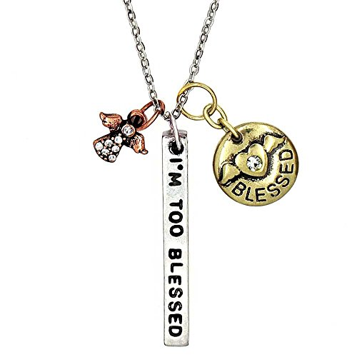 KIS-Jewelry Simple Truths 'I'm Too Blessed to Be Stressed' Pendant Necklace - Three Tone Charm Necklace with Teensy Crystal Angel and Winged Heart - Great Sports Fan Pendant Gift