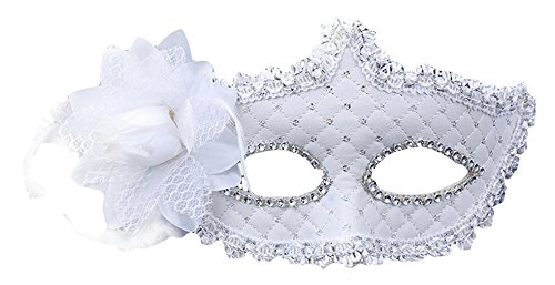 La Vogue Women's Mardi Gras Prom Feather Eye Beads Venetian Masquerade Mask White