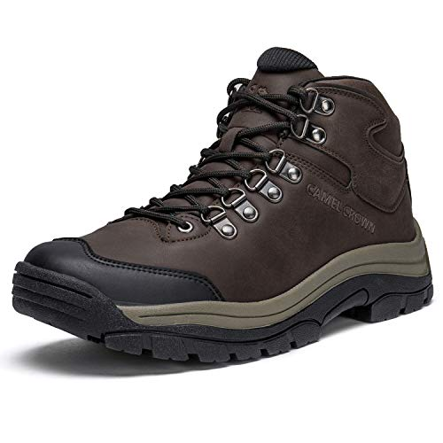 CAMEL CROWN Men's Hiking Trekking Boots Outdoor Mid-Top Hiking Shoes Non-Slip Leather Walking Shoes Trails Sneaker Coffee/Brown