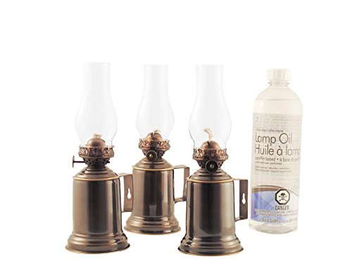- Vermont Lanterns Emergency Kit - 3 x Brass Tavern Oil Lamps, Wick + Lamp Oil (Antique Brass)
