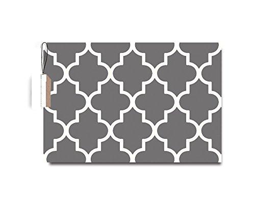 EZON-CH Moroccan Trellis Pattern Door Mats Geometric Pattern Grey Color Floor Mat Bathroom Mat Carpet Pad,18x30in - Trellis Fabric