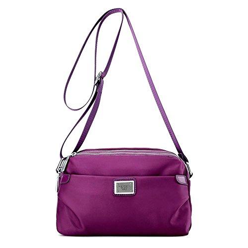 Messenger Bag Ladies Piel Viaje Ocio Impermeable Nylon Hombro Purple