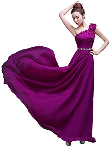 bodenlang lang Violett One Kleid Beauty Shoulder Brautjungfer Emily wTxZqnXIF