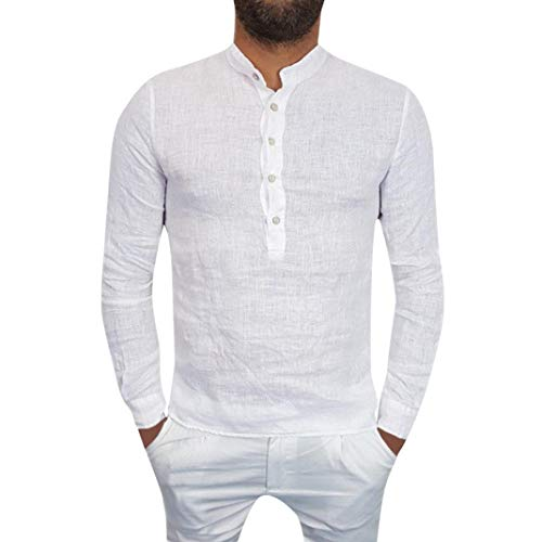 vermers Mens Casual Cotton Linen T Shirt - Men Autumn Solid Long Sleeve Pullover Tops Casual Loose V-Neck Button Blouse(S, White)