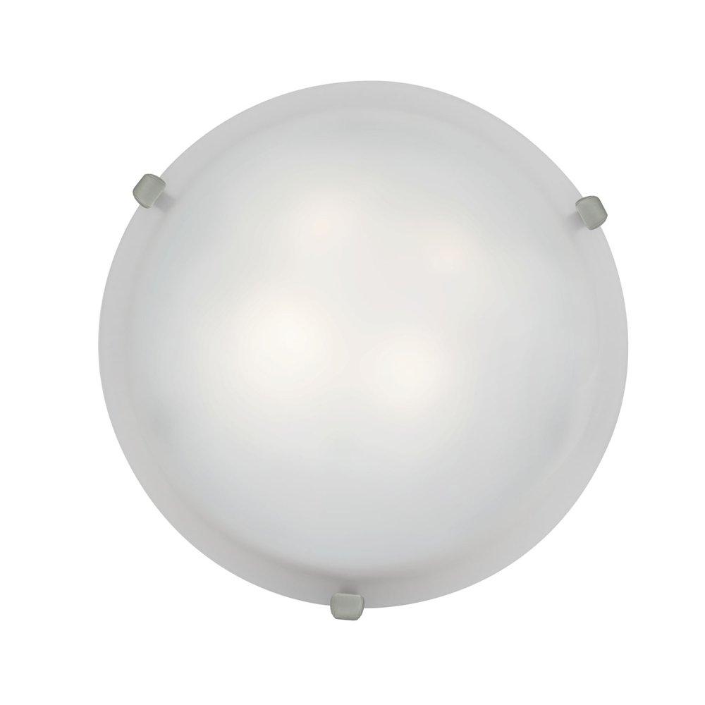 Mona - 12''Dia Flush Mount - Brushed Steel Finish - White Glass Shade