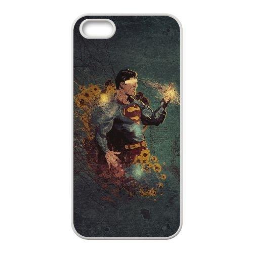 Superman L coque iPhone 5 5s cellulaire cas coque de téléphone cas blanche couverture de téléphone portable EEECBCAAN07244