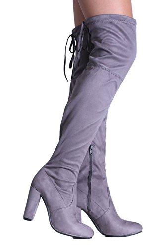 PILOT® Fauxveloursleder Block mit hohen Absätzen über den Knieaufladungen Grau