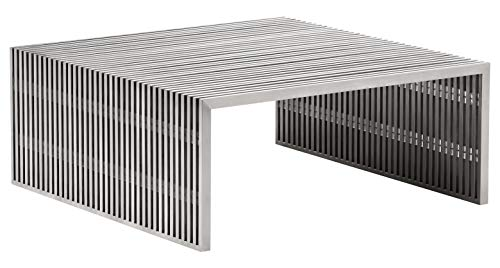 Zuo Modern Novel Square Coffee Table in Brushed Stainless Steel and Brushed Stainless Steel