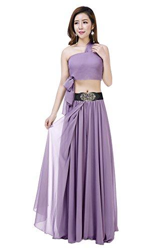 Sinreefsy Women Summer Chiffon High Waist Pleated Big Hem Full/Ankle Length Beach Maxi Skirt(XX-Large/Orchid)