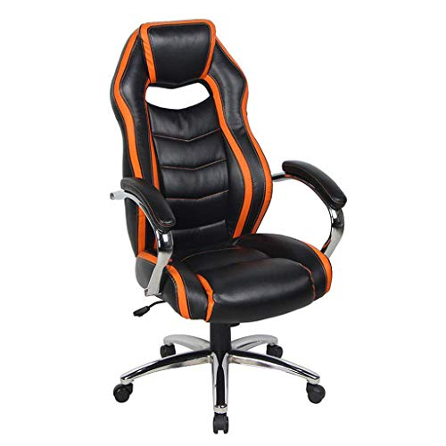 Smugdesk Office High Back Bonded Leather Game Racing Chair with Padded Headrest and Armrest,Black and Orange,