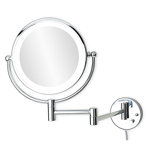 ALHAKIN 8-Inch Wall Mount Makeup Mirror with 5x Magnification , LED Light, Chrome Finish,UL listed