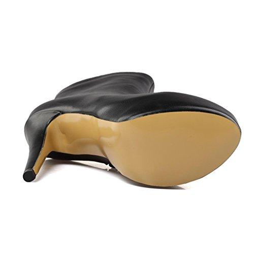 Cuir Booties Hauts Biker étanche Style de Talons Hiver Automne 8022FD Travail Plateforme Taille High Ladies Bottes Banquet Bottes Q Black amp;Q de Riding Grande IwYPz711