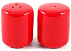 Grant Howard Red Ceramic Mini Marshmallows Salt and Pepper Shaker Set