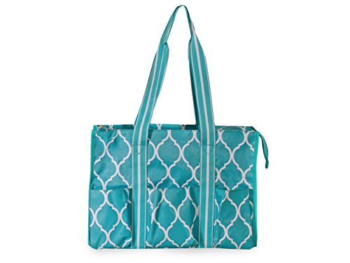 All For Color Turquoise Quatrefoil Organize It Tote
