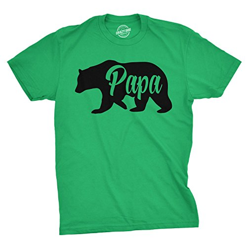 (Mens Papa Bear Funny Shirts for Dads Gift Idea Novelty Tees Family T Shirt (Green) - M)