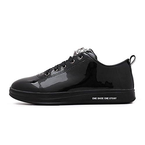 Plano Xiaojuan de Zapato Moda 42 Negro EU de Cuero Hombres de de patentados Color tamaño Patente Gold la Zapatos los Deporte shoes la de de Zapatilla la ArE6rx