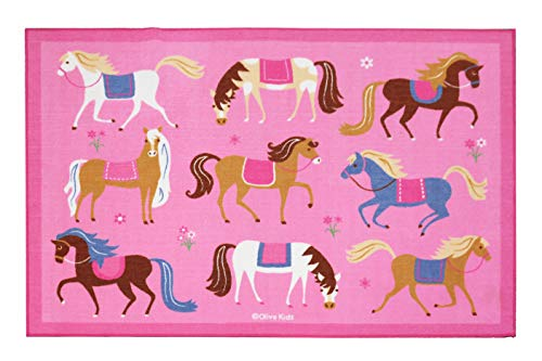Wildkin 5x7 Foot Rug, Features Durable Design, Vibrant Colors, and Skid-Proof Backing, Coordinates with Other Room Décor, Olive Kids Design - Horses